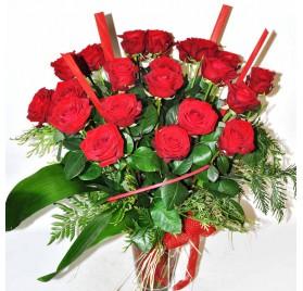Gerro 25 roses vermelles.