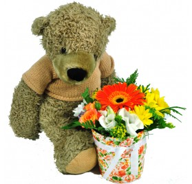 teddy bear + flowers